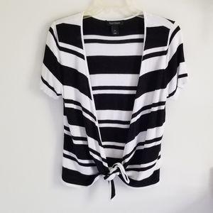 White House Black Market stripe cardigan L